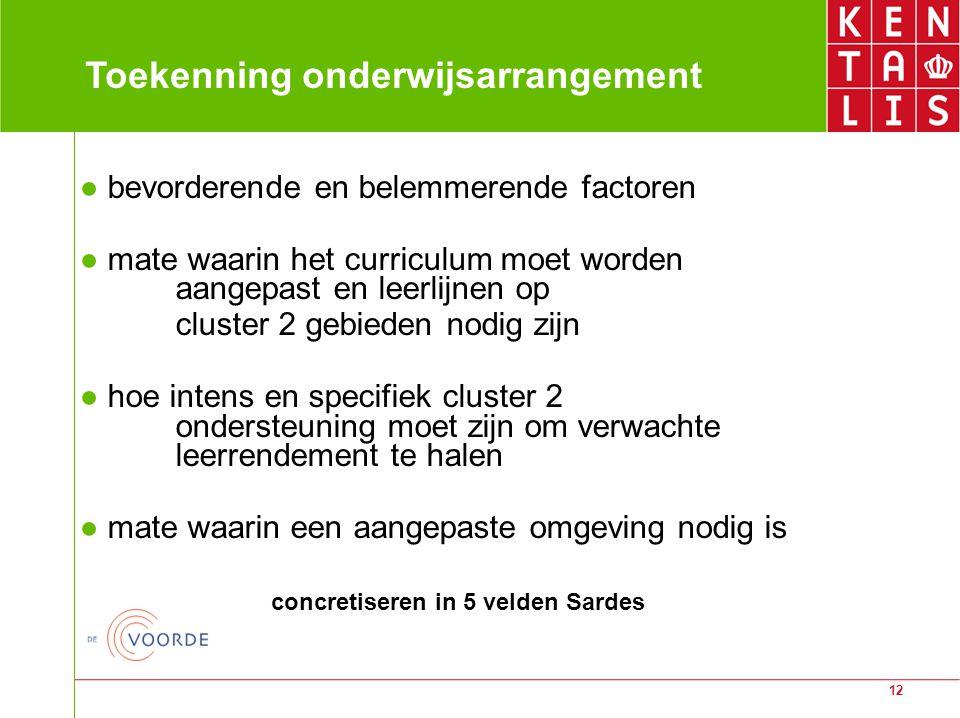 12 Toekenning onderwijsarrangement ● bevorderende en belemmerende factoren ● mate waarin het curriculum moet worden aangepast en leerlijnen op cluster