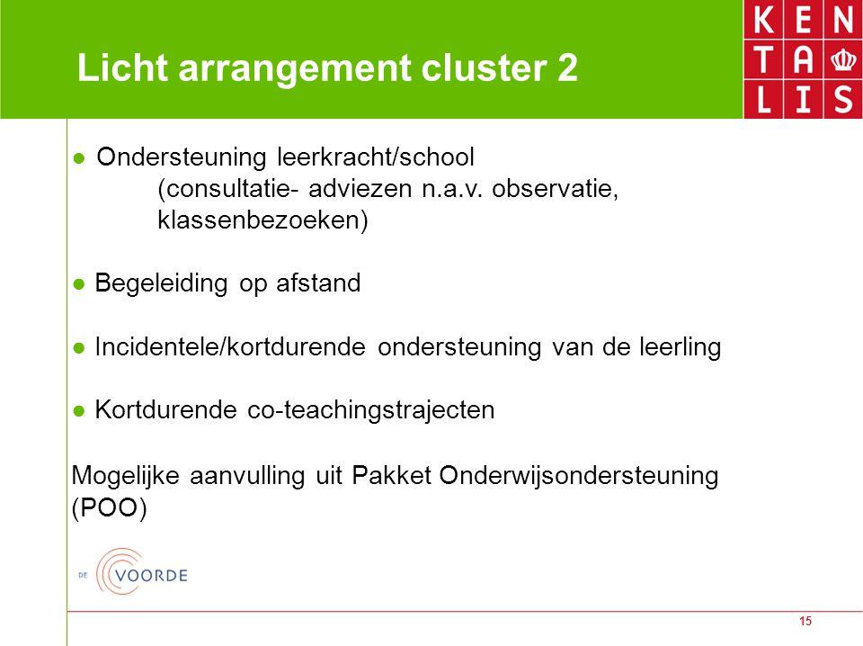 15 Licht arrangement cluster 2 ● Ondersteuning leerkracht/school (consultatie- adviezen n.a.v. observatie, klassenbezoeken) ● Begeleiding op afstand ●