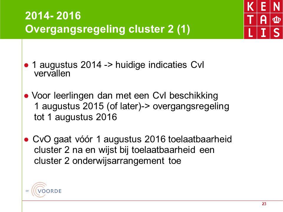 23 2014- 2016 Overgangsregeling cluster 2 (1) ● 1 augustus 2014 -> huidige indicaties CvI vervallen ● Voor leerlingen dan met een CvI beschikking 1 au