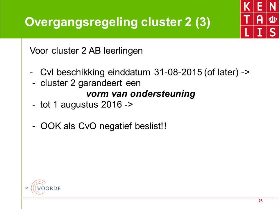 25 Overgangsregeling cluster 2 (3) Voor cluster 2 AB leerlingen -CvI beschikking einddatum 31-08-2015 (of later) -> - cluster 2 garandeert een vorm va