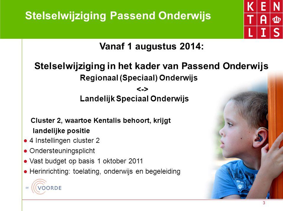 3 Stelselwijziging Passend Onderwijs Vanaf 1 augustus 2014: Stelselwijziging in het kader van Passend Onderwijs Regionaal (Speciaal) Onderwijs Landeli
