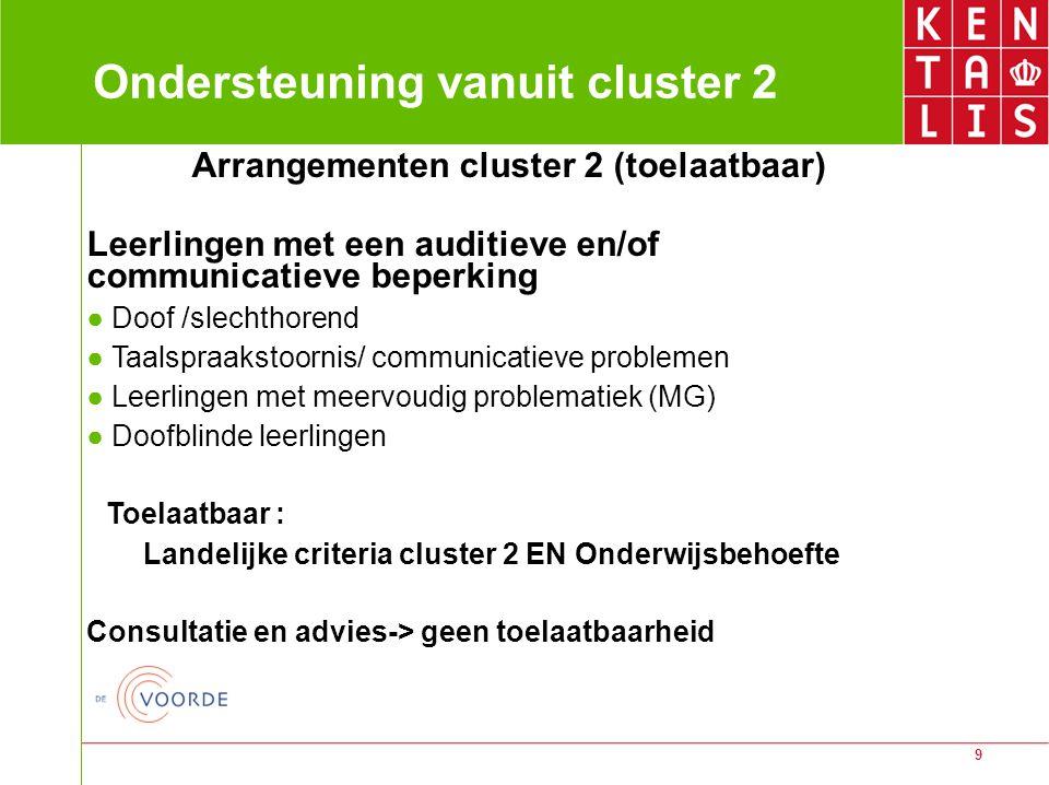 9 Ondersteuning vanuit cluster 2 Arrangementen cluster 2 (toelaatbaar) Leerlingen met een auditieve en/of communicatieve beperking ● Doof /slechthoren