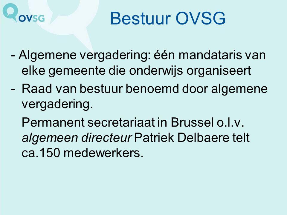 Bestuur OVSG - Algemene vergadering: één mandataris van elke gemeente die onderwijs organiseert -Raad van bestuur benoemd door algemene vergadering.