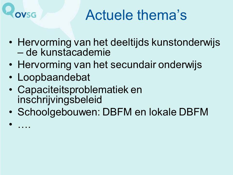 Actuele thema's Hervorming van het deeltijds kunstonderwijs – de kunstacademie Hervorming van het secundair onderwijs Loopbaandebat Capaciteitsproblematiek en inschrijvingsbeleid Schoolgebouwen: DBFM en lokale DBFM ….