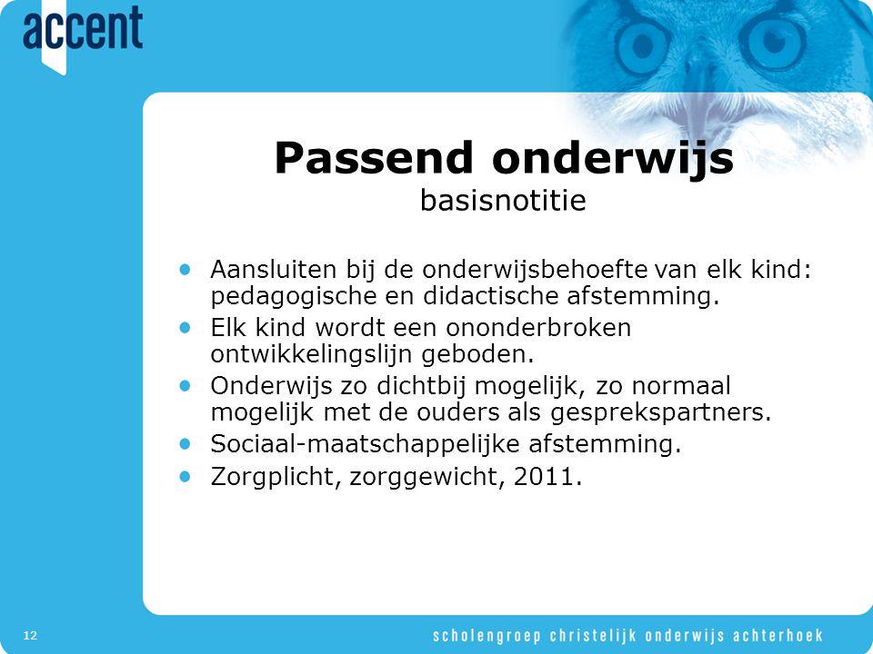 12 Passend onderwijs basisnotitie Aansluiten bij de onderwijsbehoefte van elk kind: pedagogische en didactische afstemming.