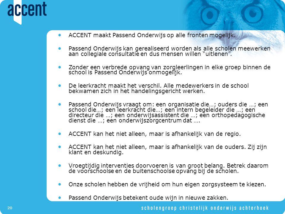 20 ACCENT maakt Passend Onderwijs op alle fronten mogelijk.