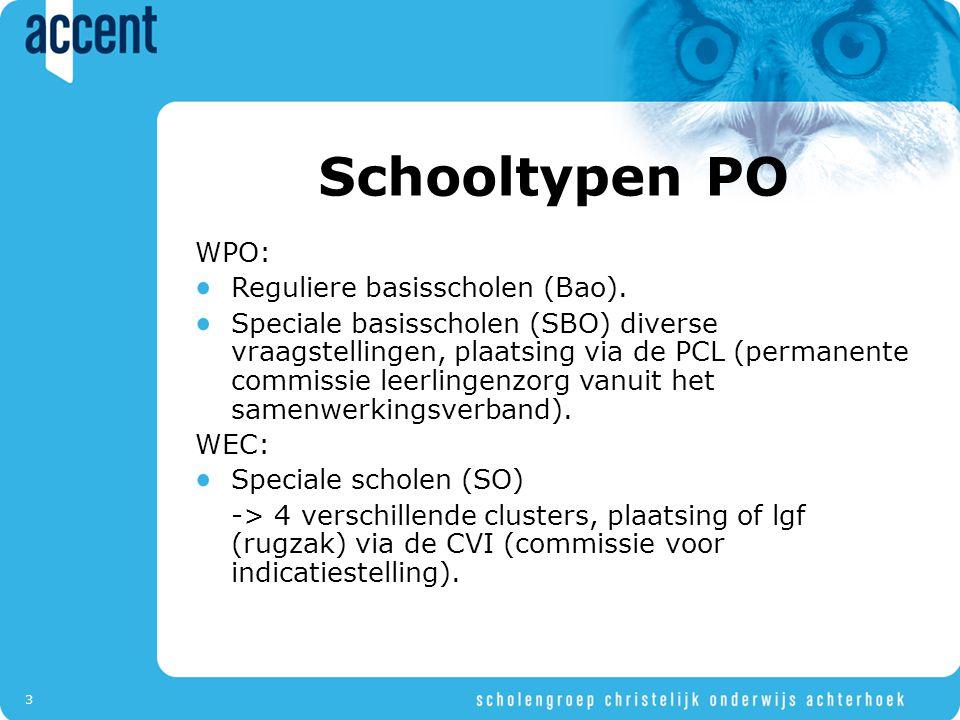 3 Schooltypen PO WPO: Reguliere basisscholen (Bao). Speciale basisscholen (SBO) diverse vraagstellingen, plaatsing via de PCL (permanente commissie le
