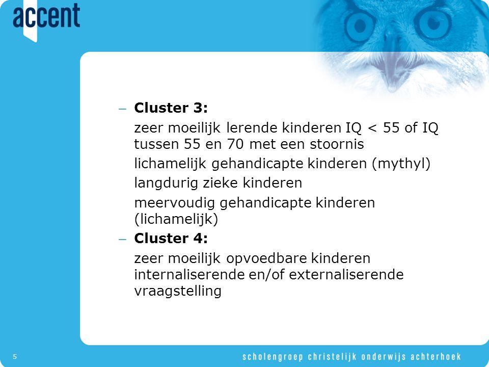 5 – Cluster 3: zeer moeilijk lerende kinderen IQ < 55 of IQ tussen 55 en 70 met een stoornis lichamelijk gehandicapte kinderen (mythyl) langdurig zieke kinderen meervoudig gehandicapte kinderen (lichamelijk) – Cluster 4: zeer moeilijk opvoedbare kinderen internaliserende en/of externaliserende vraagstelling