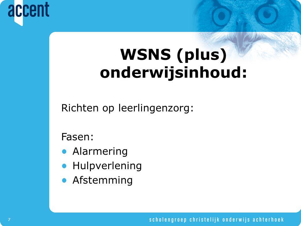 7 WSNS (plus) onderwijsinhoud: Richten op leerlingenzorg: Fasen: Alarmering Hulpverlening Afstemming
