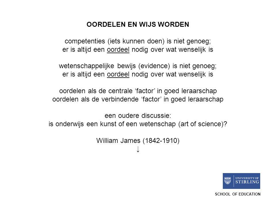 SCHOOL OF EDUCATION OORDELEN EN WIJS WORDEN competenties (iets kunnen doen) is niet genoeg; er is altijd een oordeel nodig over wat wenselijk is weten