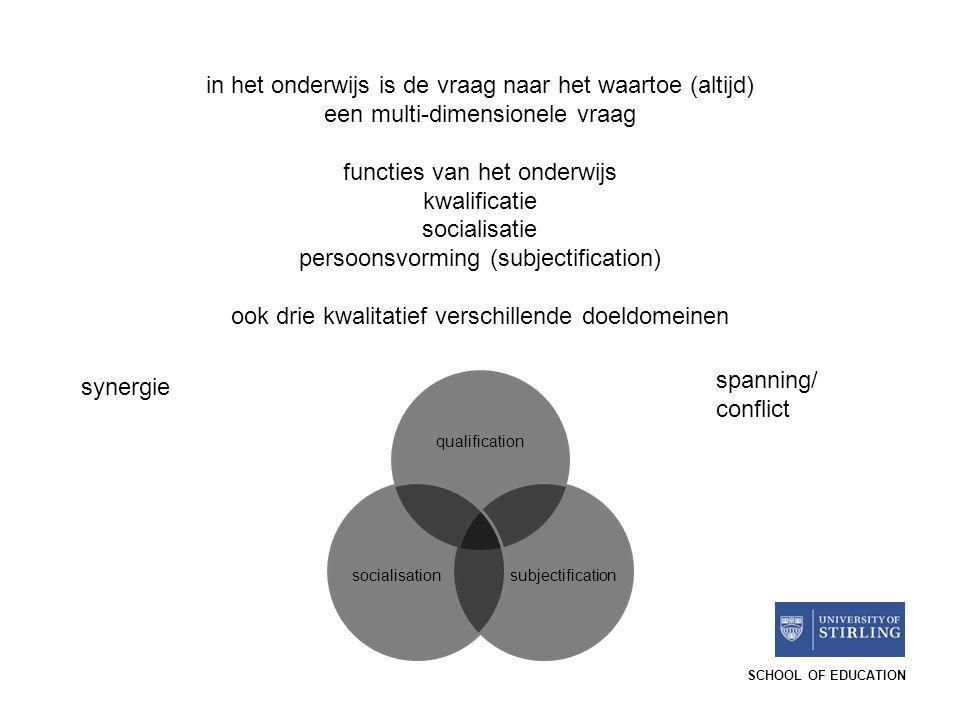 SCHOOL OF EDUCATION in het onderwijs is de vraag naar het waartoe (altijd) een multi-dimensionele vraag functies van het onderwijs kwalificatie social