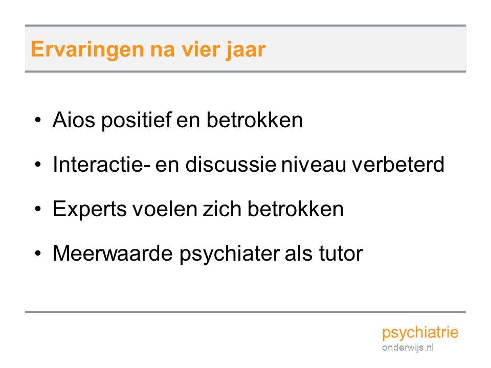 Aios positief en betrokken Interactie- en discussie niveau verbeterd Experts voelen zich betrokken Meerwaarde psychiater als tutor psychiatrie onderwi