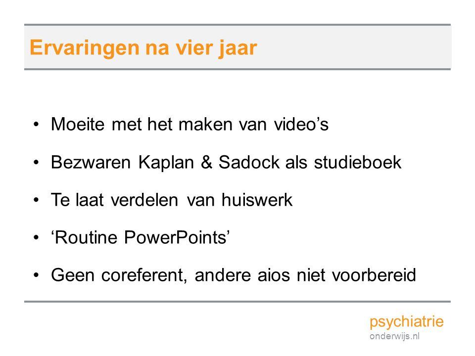 Moeite met het maken van video's Bezwaren Kaplan & Sadock als studieboek Te laat verdelen van huiswerk 'Routine PowerPoints' Geen coreferent, andere a
