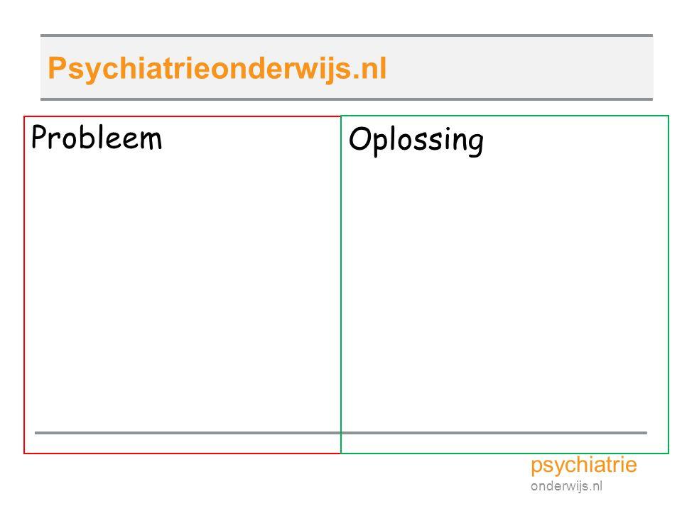 Probleem psychiatrie onderwijs.nl Psychiatrieonderwijs.nl Oplossing