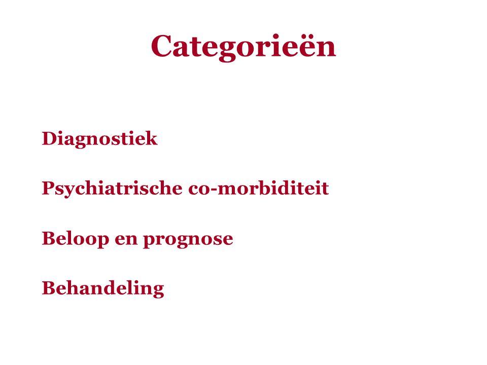 Categorieën Diagnostiek Psychiatrische co-morbiditeit Beloop en prognose Behandeling