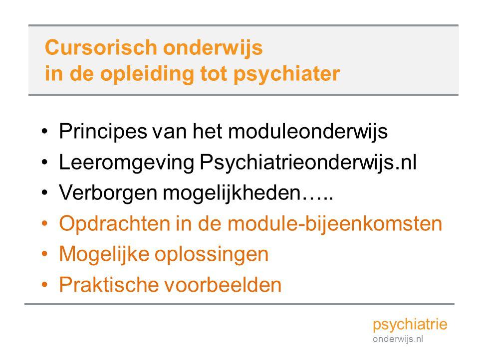 Principes van het moduleonderwijs Leeromgeving Psychiatrieonderwijs.nl Verborgen mogelijkheden….. Opdrachten in de module-bijeenkomsten Mogelijke oplo