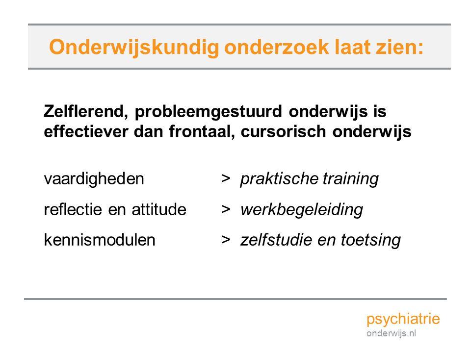 Zelflerend, probleemgestuurd onderwijs is effectiever dan frontaal, cursorisch onderwijs vaardigheden > praktische training reflectie en attitude > we