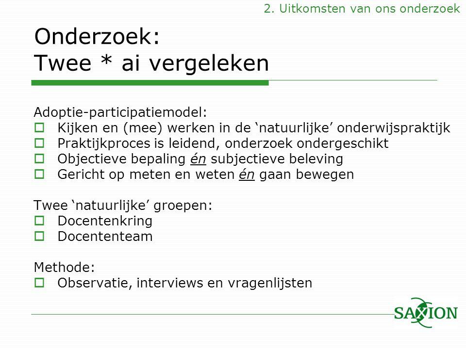 Onderzoek: Twee * ai vergeleken Adoptie-participatiemodel:  Kijken en (mee) werken in de 'natuurlijke' onderwijspraktijk  Praktijkproces is leidend,