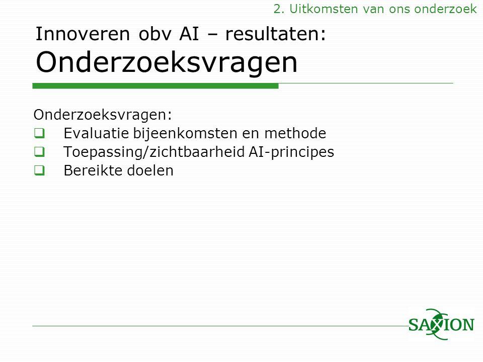 Innoveren obv AI – resultaten: Onderzoeksvragen Onderzoeksvragen:  Evaluatie bijeenkomsten en methode  Toepassing/zichtbaarheid AI-principes  Berei