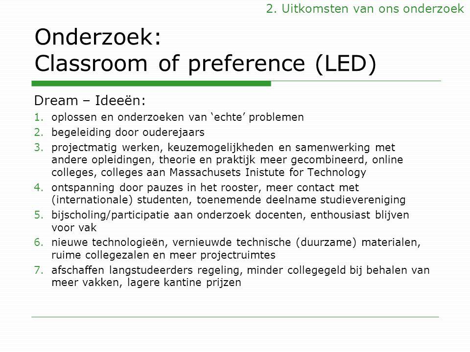 Onderzoek: Classroom of preference (LED) Dream – Ideeën: 1.oplossen en onderzoeken van 'echte' problemen 2.begeleiding door ouderejaars 3.projectmatig