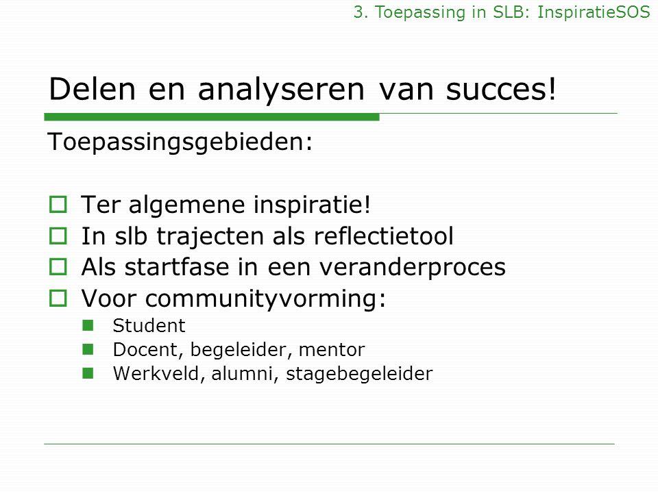 Delen en analyseren van succes! Toepassingsgebieden:  Ter algemene inspiratie!  In slb trajecten als reflectietool  Als startfase in een veranderpr