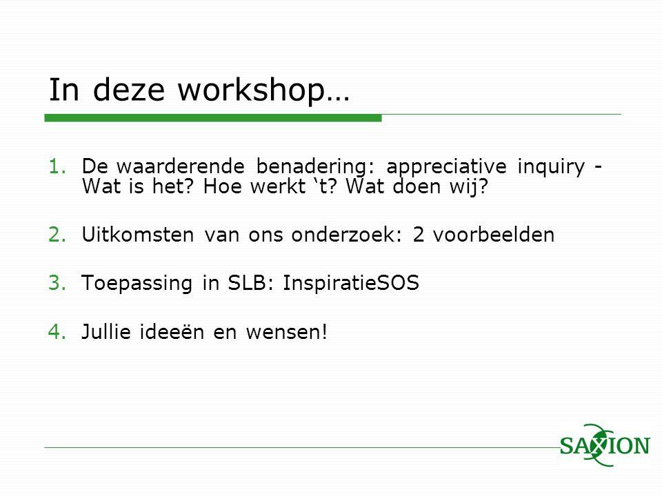 In deze workshop… 1.De waarderende benadering: appreciative inquiry - Wat is het? Hoe werkt 't? Wat doen wij? 2.Uitkomsten van ons onderzoek: 2 voorbe