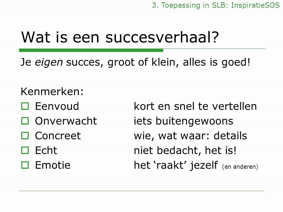 Wat is een succesverhaal? Je eigen succes, groot of klein, alles is goed! Kenmerken:  Eenvoud kort en snel te vertellen  Onverwachtiets buitengewoon