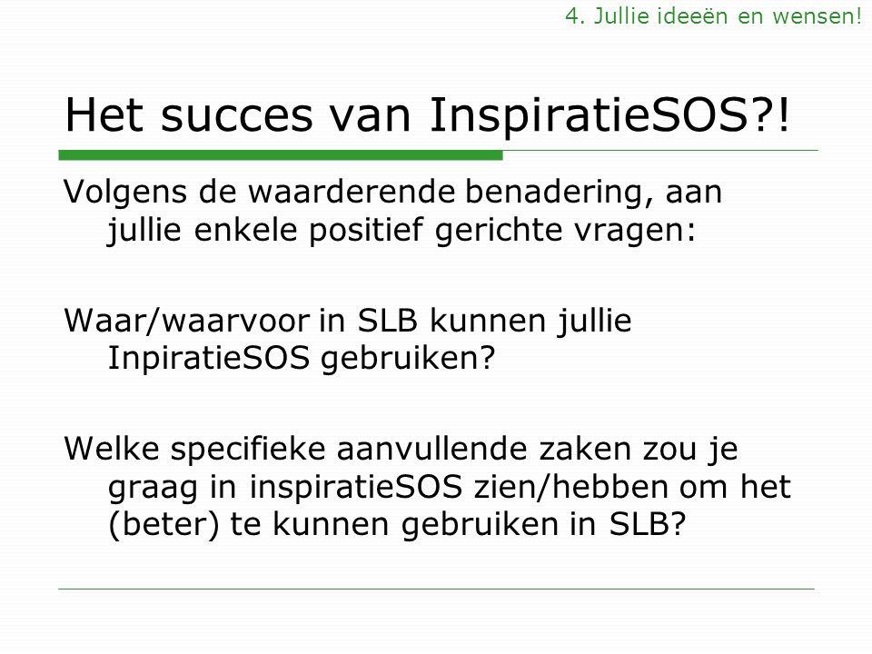 Het succes van InspiratieSOS?! Volgens de waarderende benadering, aan jullie enkele positief gerichte vragen: Waar/waarvoor in SLB kunnen jullie Inpir