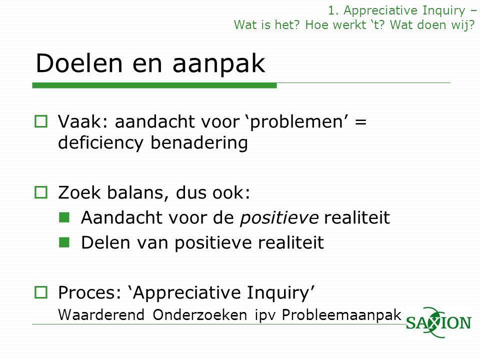 Doelen en aanpak  Vaak: aandacht voor 'problemen' = deficiency benadering  Zoek balans, dus ook: Aandacht voor de positieve realiteit Delen van posi