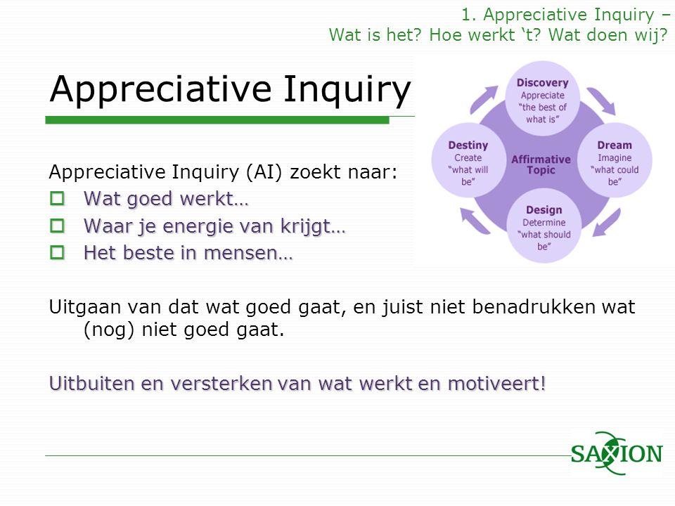 Appreciative Inquiry Appreciative Inquiry (AI) zoekt naar:  Wat goed werkt…  Waar je energie van krijgt…  Het beste in mensen… Uitgaan van dat wat