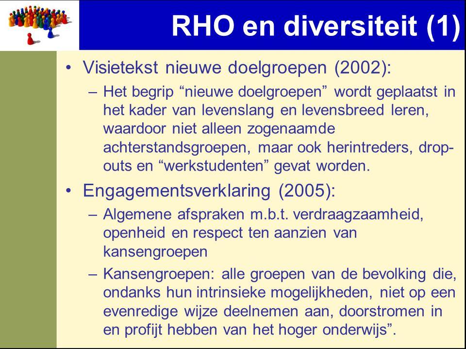 RHO en diversiteit (1) Visietekst nieuwe doelgroepen (2002): –Het begrip nieuwe doelgroepen wordt geplaatst in het kader van levenslang en levensbreed leren, waardoor niet alleen zogenaamde achterstandsgroepen, maar ook herintreders, drop- outs en werkstudenten gevat worden.