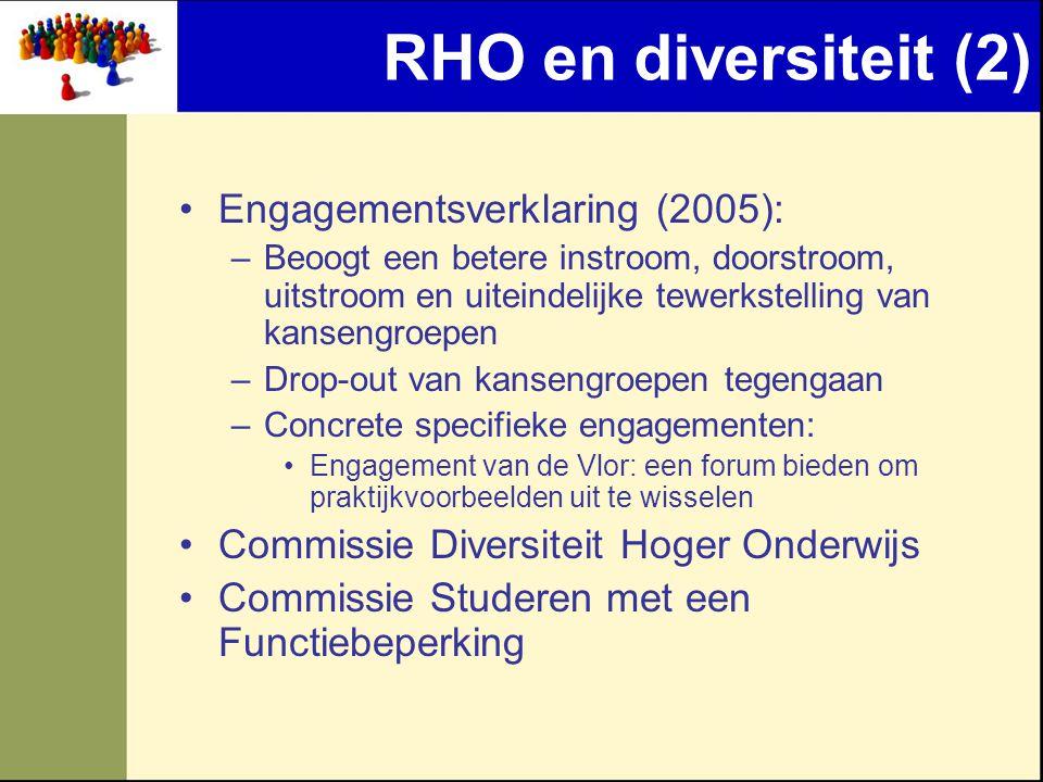 RHO en diversiteit (2) Engagementsverklaring (2005): –Beoogt een betere instroom, doorstroom, uitstroom en uiteindelijke tewerkstelling van kansengroepen –Drop-out van kansengroepen tegengaan –Concrete specifieke engagementen: Engagement van de Vlor: een forum bieden om praktijkvoorbeelden uit te wisselen Commissie Diversiteit Hoger Onderwijs Commissie Studeren met een Functiebeperking