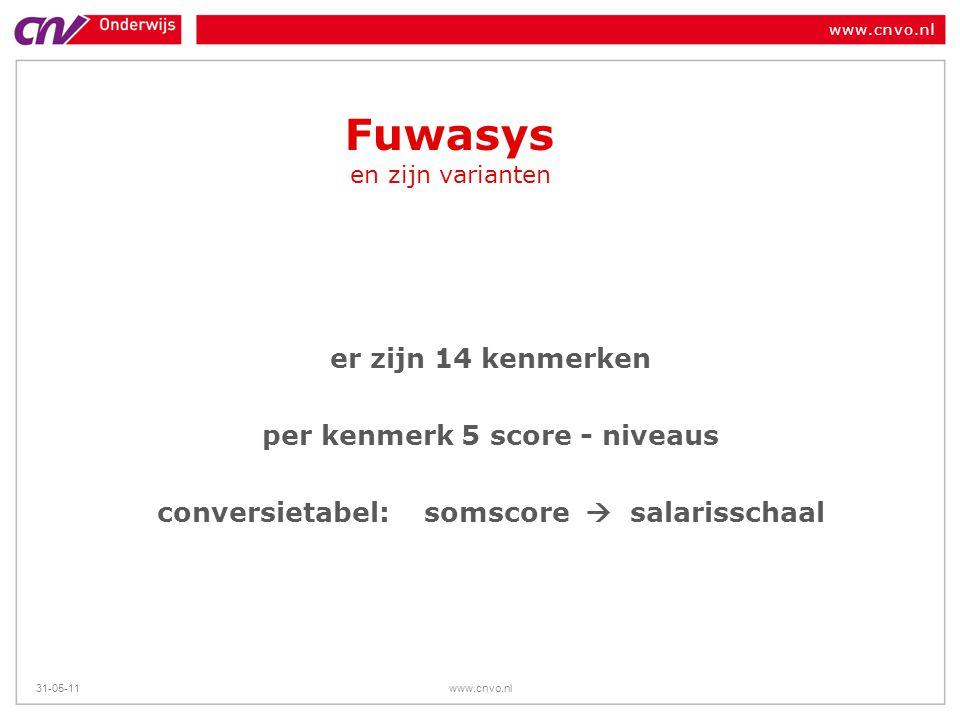 www.cnvo.nl 31-05-11www.cnvo.nl Fuwasys en zijn varianten er zijn 14 kenmerken per kenmerk 5 score - niveaus conversietabel: somscore  salarisschaal