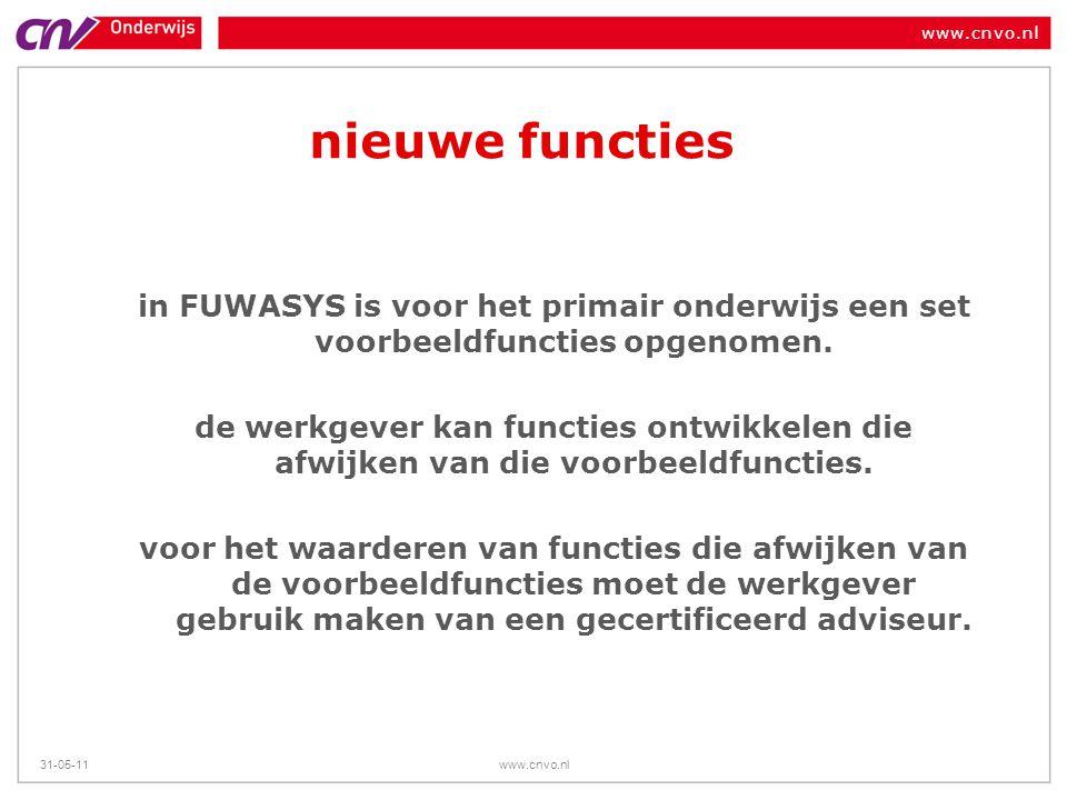 www.cnvo.nl 31-05-11www.cnvo.nl nieuwe functies in FUWASYS is voor het primair onderwijs een set voorbeeldfuncties opgenomen. de werkgever kan functie