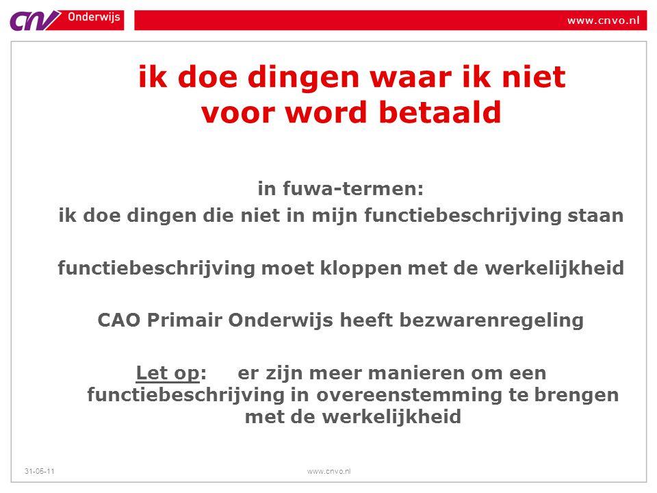 www.cnvo.nl 31-05-11www.cnvo.nl ik doe dingen waar ik niet voor word betaald in fuwa-termen: ik doe dingen die niet in mijn functiebeschrijving staan