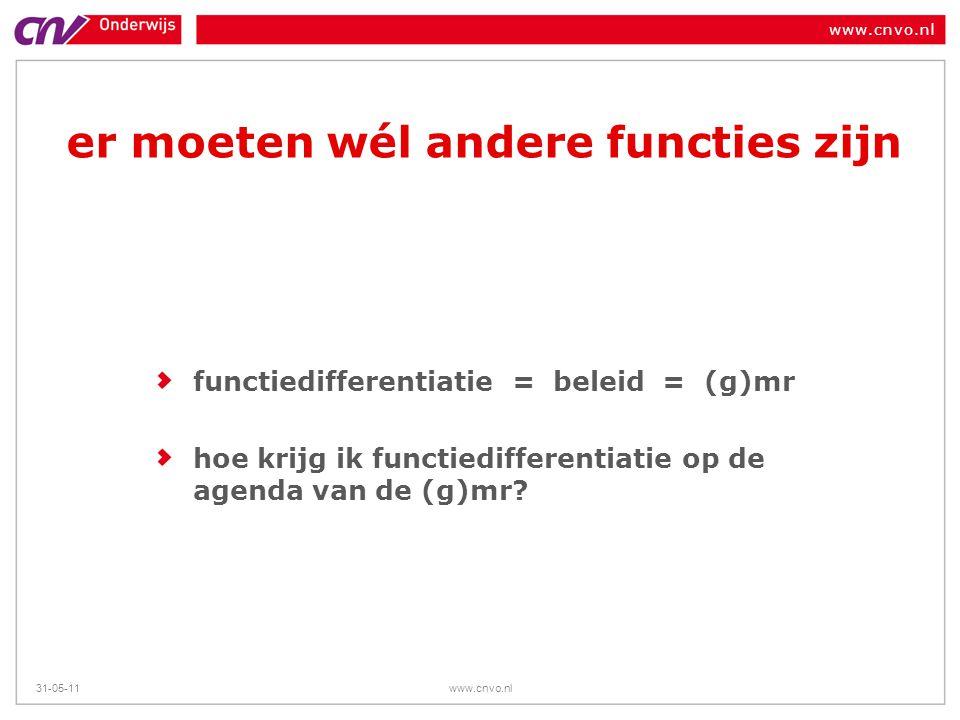 www.cnvo.nl 31-05-11www.cnvo.nl er moeten wél andere functies zijn functiedifferentiatie = beleid = (g)mr hoe krijg ik functiedifferentiatie op de age