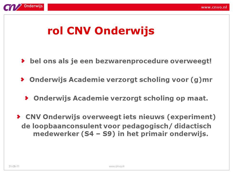 www.cnvo.nl 31-05-11www.cnvo.nl rol CNV Onderwijs bel ons als je een bezwarenprocedure overweegt! Onderwijs Academie verzorgt scholing voor (g)mr Onde