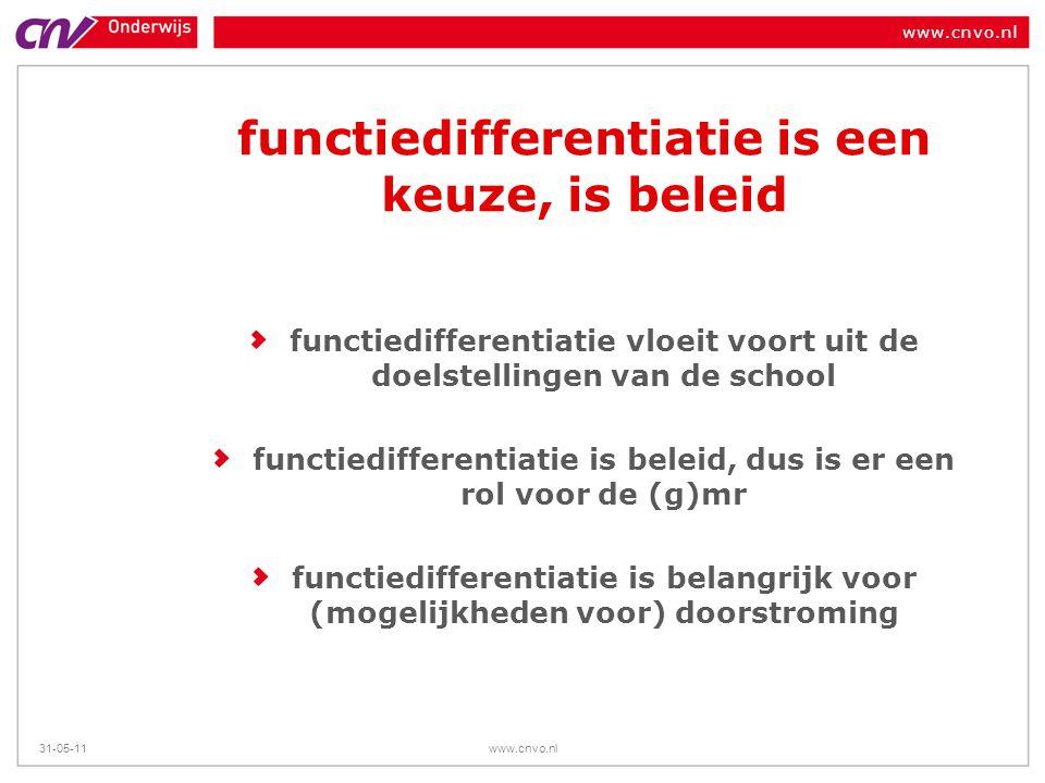 www.cnvo.nl 31-05-11www.cnvo.nl functiedifferentiatie is een keuze, is beleid functiedifferentiatie vloeit voort uit de doelstellingen van de school f