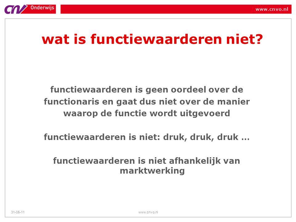www.cnvo.nl 31-05-11www.cnvo.nl wat is functiewaarderen niet? functiewaarderen is geen oordeel over de functionaris en gaat dus niet over de manier wa