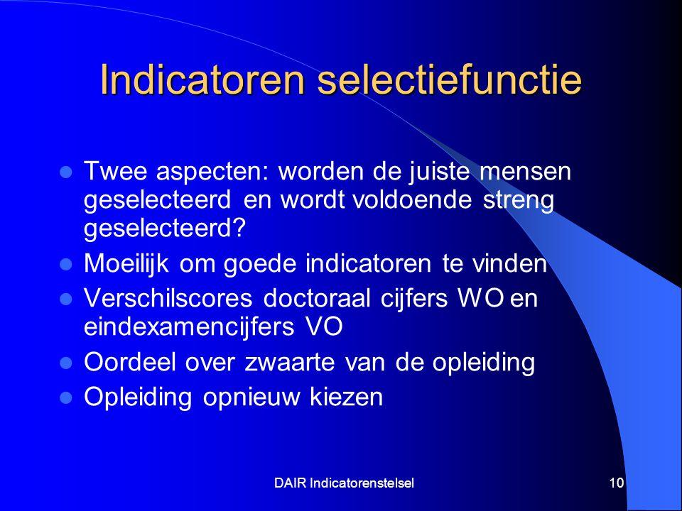 DAIR Indicatorenstelsel10 Indicatoren selectiefunctie Twee aspecten: worden de juiste mensen geselecteerd en wordt voldoende streng geselecteerd.