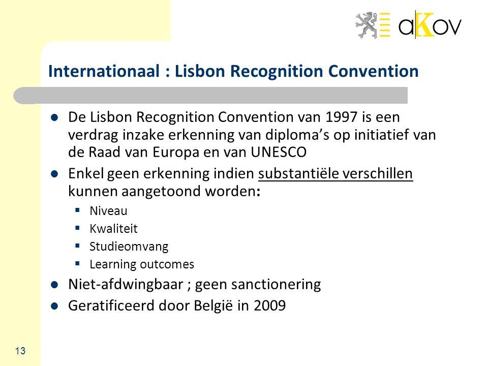 13 Internationaal : Lisbon Recognition Convention De Lisbon Recognition Convention van 1997 is een verdrag inzake erkenning van diploma's op initiatief van de Raad van Europa en van UNESCO Enkel geen erkenning indien substantiële verschillen kunnen aangetoond worden:  Niveau  Kwaliteit  Studieomvang  Learning outcomes Niet-afdwingbaar ; geen sanctionering Geratificeerd door België in 2009