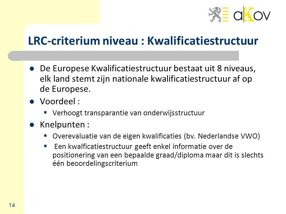 14 LRC-criterium niveau : Kwalificatiestructuur De Europese Kwalificatiestructuur bestaat uit 8 niveaus, elk land stemt zijn nationale kwalificatiestructuur af op de Europese.