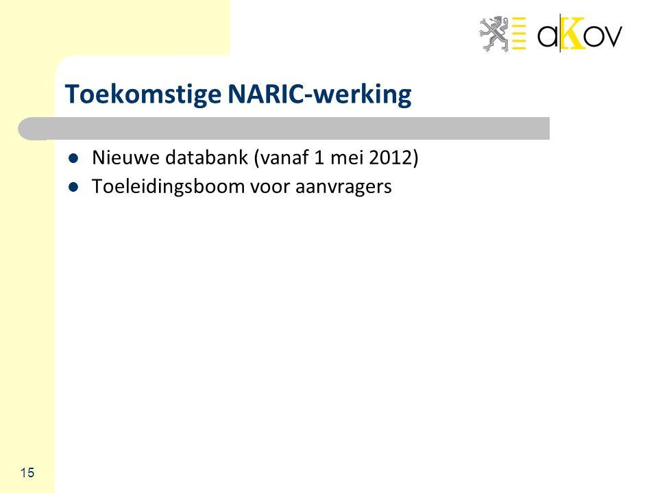 15 Toekomstige NARIC-werking Nieuwe databank (vanaf 1 mei 2012) Toeleidingsboom voor aanvragers