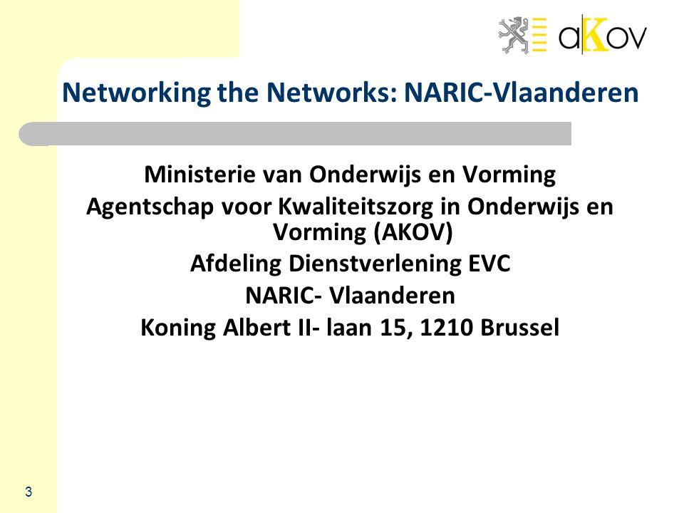 3 Networking the Networks: NARIC-Vlaanderen Ministerie van Onderwijs en Vorming Agentschap voor Kwaliteitszorg in Onderwijs en Vorming (AKOV) Afdeling Dienstverlening EVC NARIC- Vlaanderen Koning Albert II- laan 15, 1210 Brussel