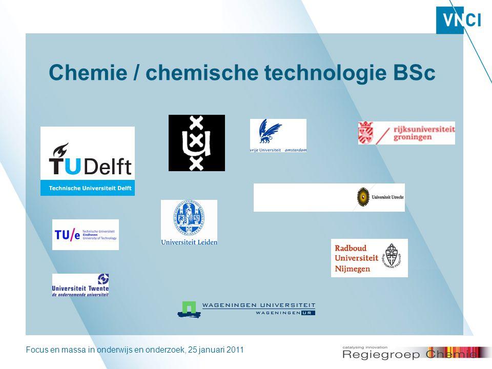 Focus en massa in onderwijs en onderzoek, 25 januari 20112 Chemie / chemische technologie BSc