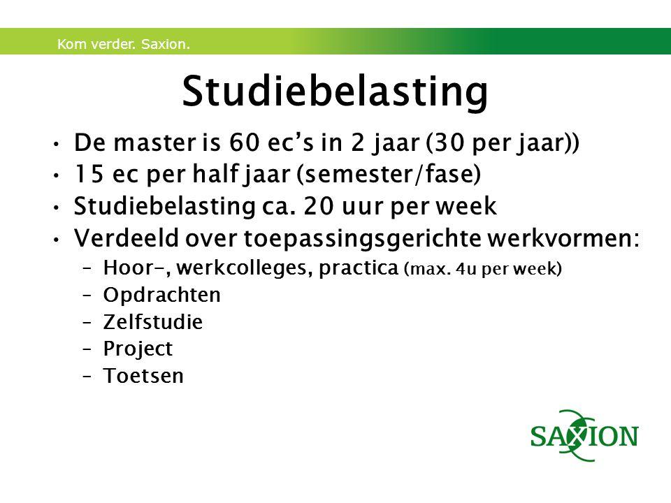 Kom verder. Saxion. Studiebelasting De master is 60 ec's in 2 jaar (30 per jaar)) 15 ec per half jaar (semester/fase) Studiebelasting ca. 20 uur per w