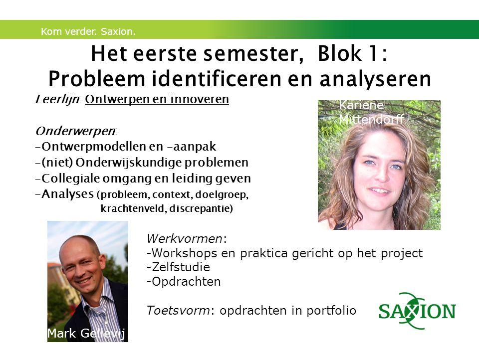 Kom verder. Saxion. Het eerste semester, Blok 1: Probleem identificeren en analyseren Leerlijn: Ontwerpen en innoveren Onderwerpen: -Ontwerpmodellen e