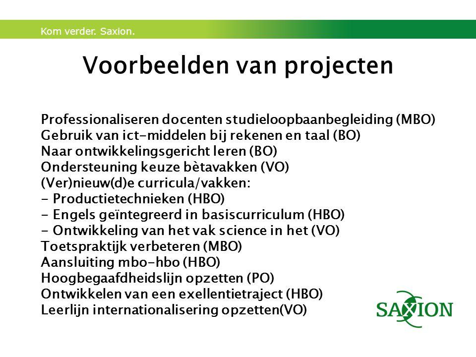 Kom verder. Saxion. Voorbeelden van projecten Professionaliseren docenten studieloopbaanbegleiding (MBO) Gebruik van ict-middelen bij rekenen en taal