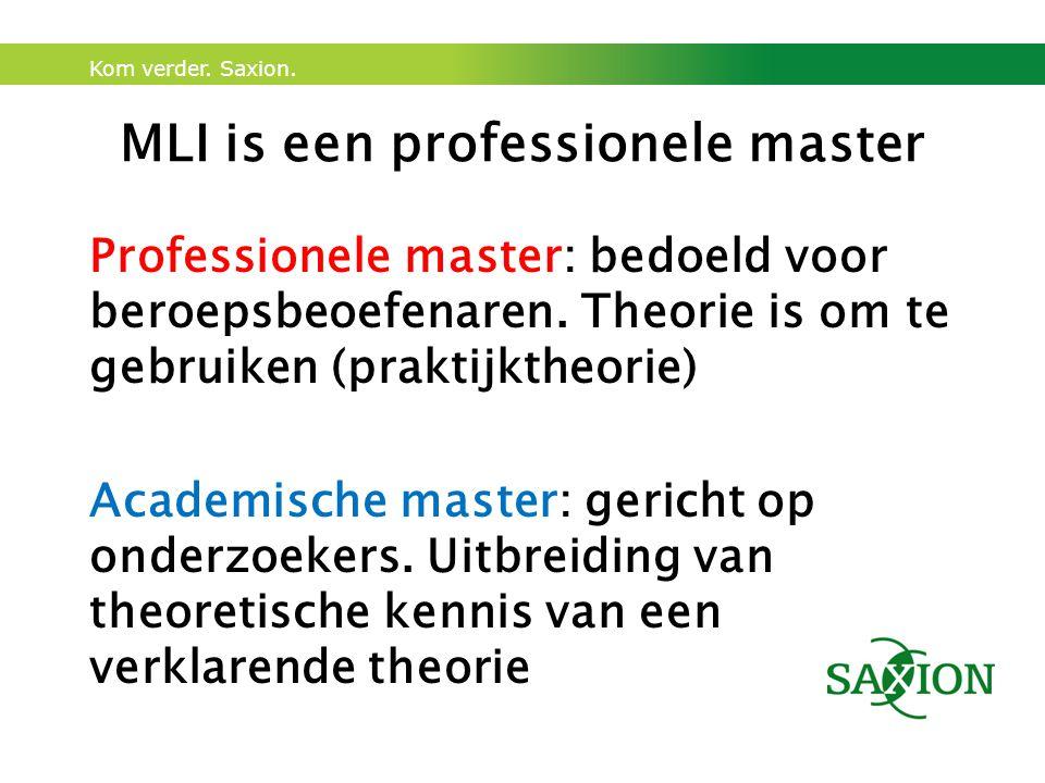 Kom verder. Saxion. MLI is een professionele master Professionele master: bedoeld voor beroepsbeoefenaren. Theorie is om te gebruiken (praktijktheorie