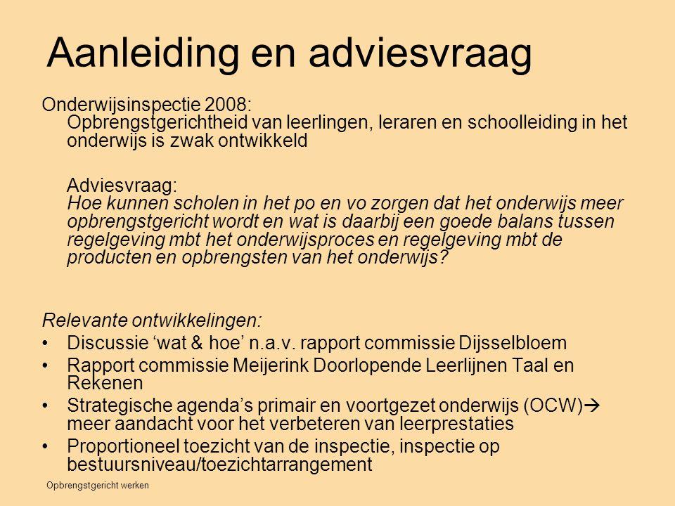 Opbrengstgericht werken Aanleiding en adviesvraag Onderwijsinspectie 2008: Opbrengstgerichtheid van leerlingen, leraren en schoolleiding in het onderw